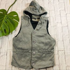 Other - Gray Fitted Button Up Hoodie Sweater Vest Size: S